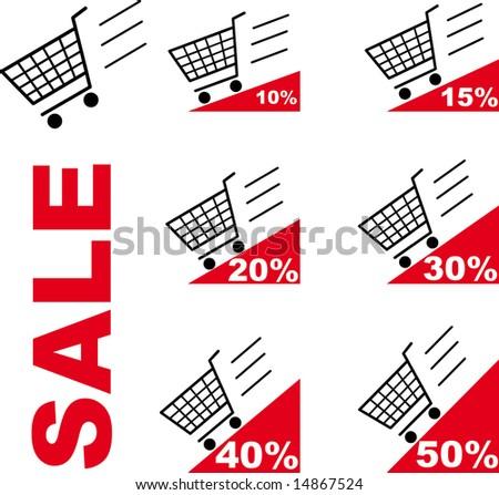 Sale Shopping cart - stock photo