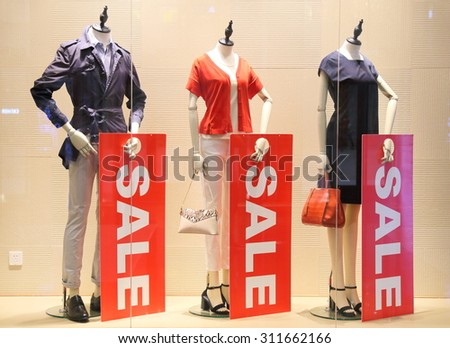 sale sign and showcase model  - stock photo