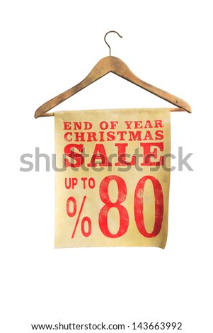 sale sign on coat hanger isolated on white background, special offer for Christmas - stock photo