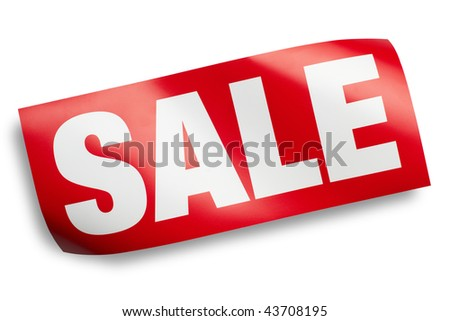 Sale sign on white background isolated with shadow and clipping path - stock photo