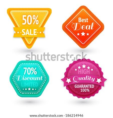 Sale signs and symbols set for best price high quality and exclusive deal isolated  illustration - stock photo