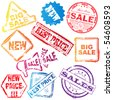 sale stamp set - stock photo