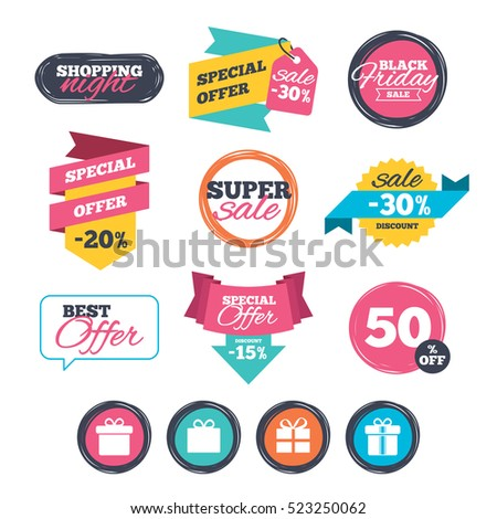 Sale stickers, online shopping. Gift box sign icons. Present with bow and ribbons sign symbols. Website badges. Black friday.