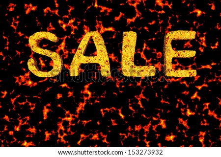 sale textured 3d letters burning background