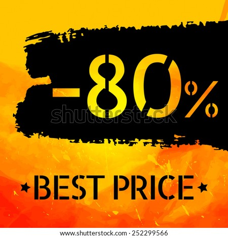 Sale vector Vintage grungy design poster template. Retro style Typography. Yellow and black. Trendy. - stock photo