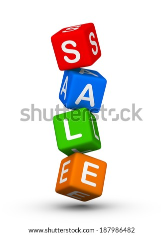 sale vertical colorful cubes sign