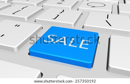 sale with word key or keyboard - stock photo