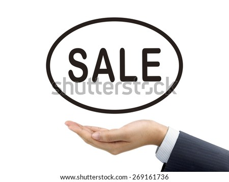 sale word holding by businessman's hand over white background