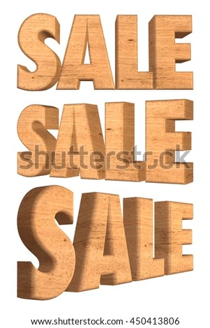 SALE word in wood texture in 3d rendered on white background.