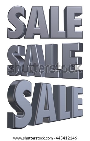 Sale word of metallic silver in 3D rendered on white background. - stock photo