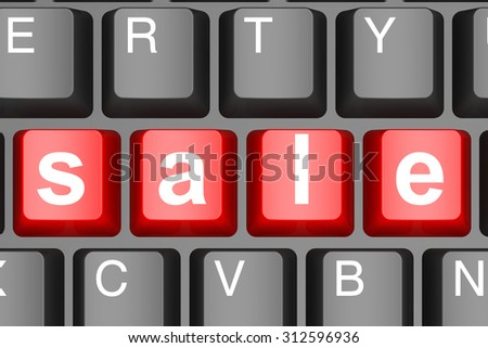 Sale word on computer keyboard image with hi-res rendered artwork that could be used for any graphic design.