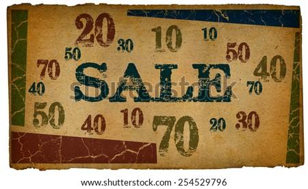 Sale written on vintage paper textures - stock photo