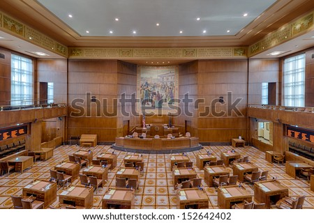 SALEM, OREGON - AUGUST 9: An empty Senate Chamber of the Oregon State Capitol building on August 9, 2013 in Salem, Oregon