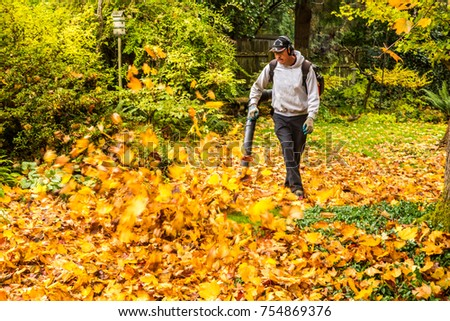 Salem, Oregon - 11/7/2017: Hispanic yard worker blowing maple tree leaves in a back yard
