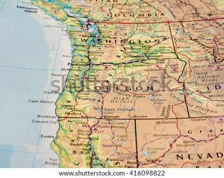 SALEM, USA - CIRCA MAY 2016: Map of the state of Oregon with selective focus on state name