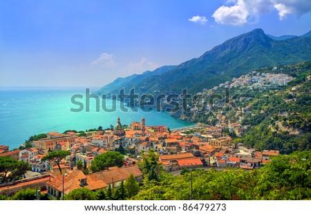 Salerno on Amalfi Coast south of Naples, Italy - stock photo