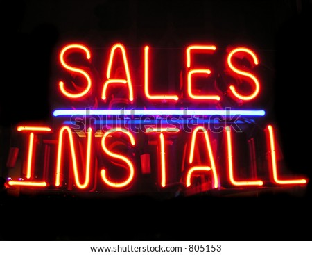Sales and Installation sign - stock photo