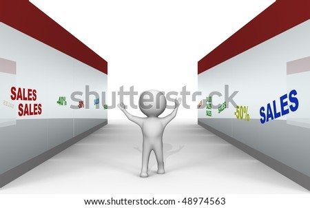 Sales at the shopping center - a 3d image - stock photo