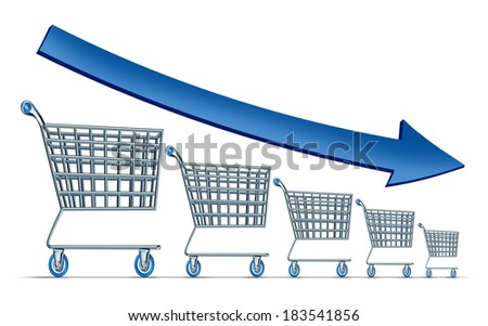 Sales decline symbol as a group of shrinking shopping carts with a blue arrow going down as a metaphor for commercial retail consumerism on a white background. - stock photo