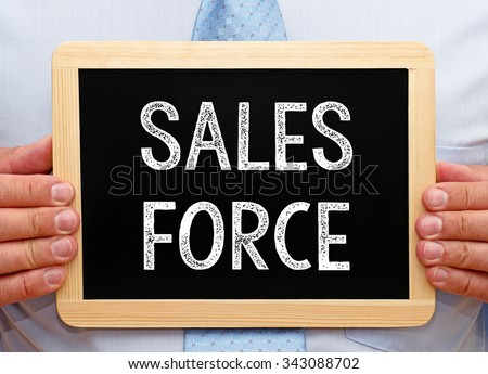 Sales Force - Manager holding chalkboard with text - stock photo