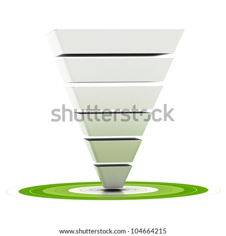 sales funnel with six stages easily customizable pointing to a green target, can be used as a marketing funnel, diagram over white background
