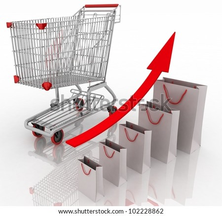 Sales growth chart. Presenting a getting better economy and increase of business income from the sale of commodities and services. - stock photo