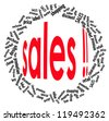 Sales info-text graphics and arrangement concept on white background (word cloud) - stock vector