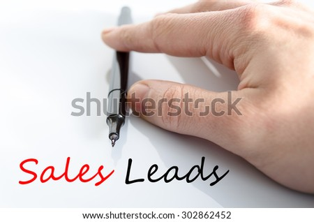 Sales leads text concept isolated over white background