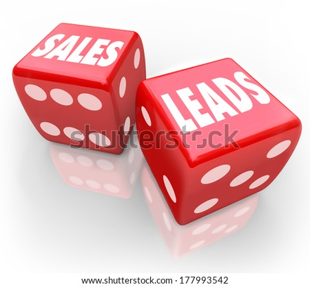 Sales Leads Two Red Dice Winning New Business Customers