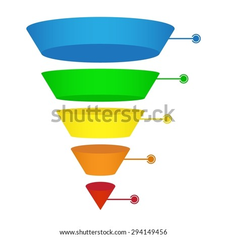 Sales or Conversion Funnel - Infographic on a White Background - stock photo