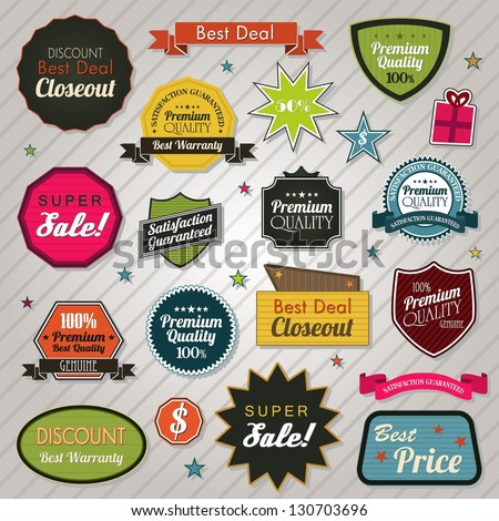 Sales price tags stickers and ribbons