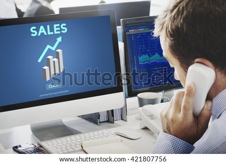 Sales Sell Selling Commerce Costs Profit Retail Concept - stock photo