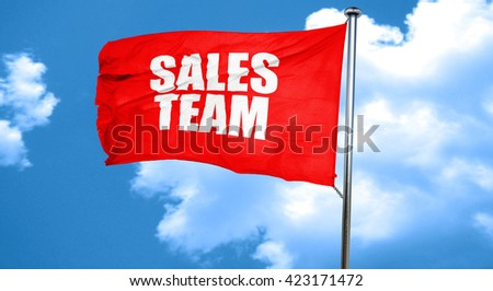 sales team, 3D rendering, a red waving flag - stock photo
