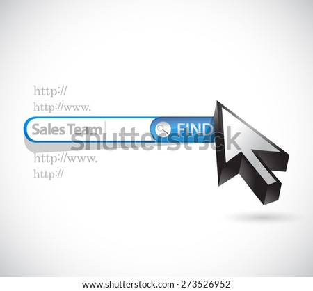 sales team search bar sign concept illustration design over white - stock photo