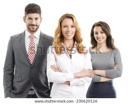 Sales team standing against white background. Business people.  - stock photo