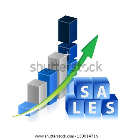 Sales up business graph with arrow and cubes illustration design