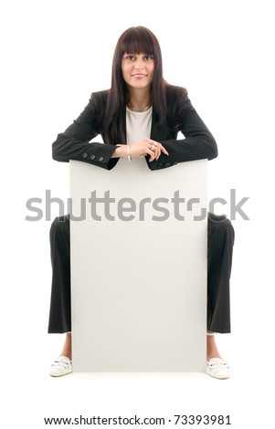 Sales woman with empty place on wheelchair and white background.