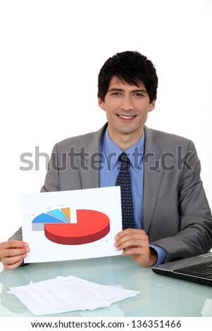 Salesman showing a graph on a document - stock photo