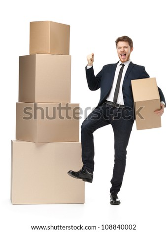 Salesperson recommends the goods, isolated, white background