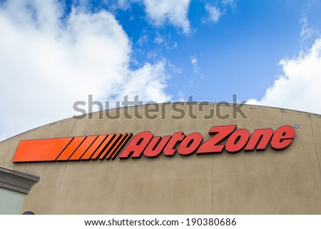 SALINAS, CA/USA - APRIL 27, 2014:  Auto Zone car parts store. AutoZone is the second-largest retailer of aftermarket automotive parts and accessories in the United States. - stock photo