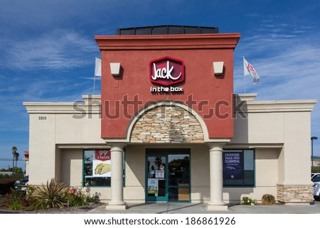 SALINAS, CA/USA - APRIL 8, 2014: Jack in the Box Restaurant exterior. Jack in the Box is an American fast-food restaurant chain with  2,200 locations,  serving the West Coast of the United States. - stock photo