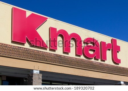SALINAS, CA/USA - APRIL 23, 2014: Kmart retail store exterior. Kmart is an American chain of discount department stores headquartered in the United States. - stock photo