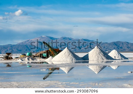 Salinas Grandes on Argentina Andes is a salt desert in the Jujuy Province. More significantly, Bolivas Salar de Uyuni is also located in the same region - stock photo