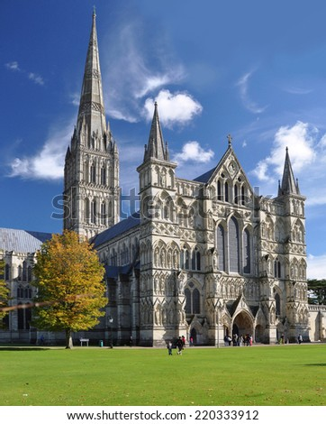 SALISBURY - OCTOBER 6. The Anglican cathedral on October 6, 2012. Built in Early English Gothic style between 1220 and 1258 with a 404 feet (123 metre) spire, located at Salisbury, Wiltshire, UK. - stock photo