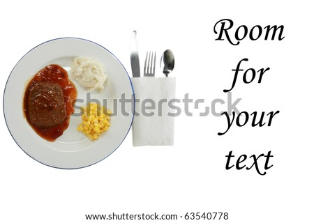 salisbury steak tv dinner with mashed potatoes and corn on a white plate, isolated on white - stock photo