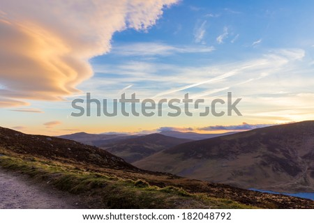 Sally Gap in Wicklow Mountains in the evening - stock photo