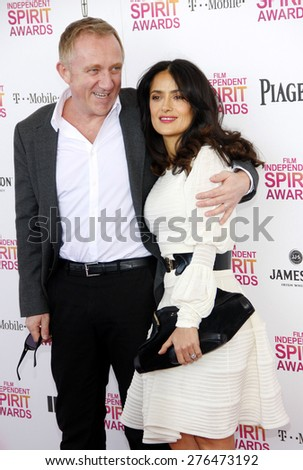 Salma Hayek and Francois-Henri Pinault at the 2013 Film Independent Spirit Awards held at the Santa Monica Beach in Los Angeles, United States, 230213.