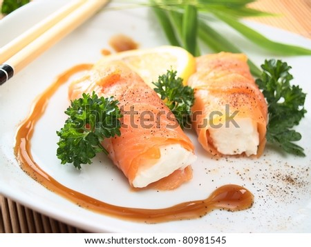 salmon and cheese rolls - stock photo