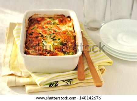 Salmon and Vegetable Bake - stock photo