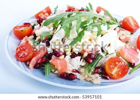 Salmon and vegetable salad - stock photo